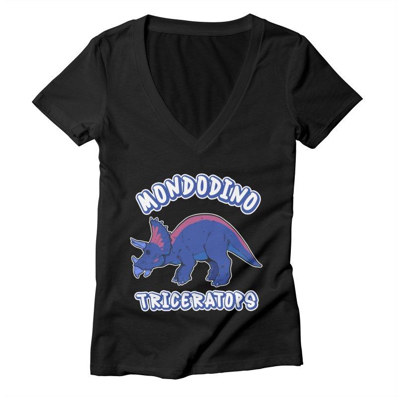 Mondodino - Triceratops 1 Women's V-Neck by Carlos E Mendez Art - Featured Design (CLICK HERE)
