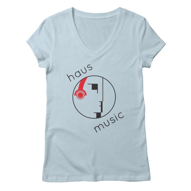 haus music Women's Regular V-Neck by Carlos Villamil's Artist Shop