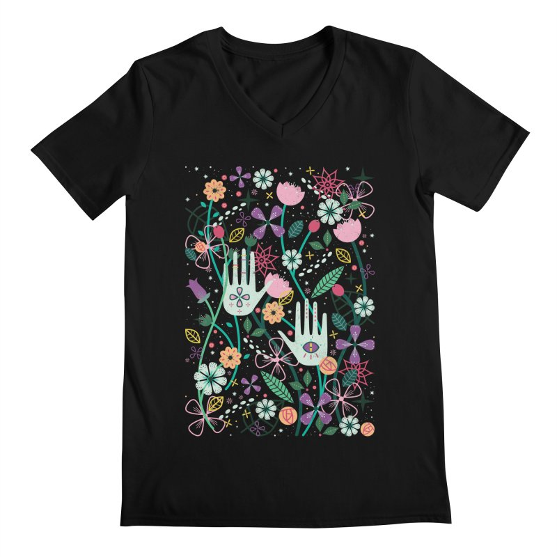 Botanical Hands Men's Regular V-Neck by carlywatts's Shop