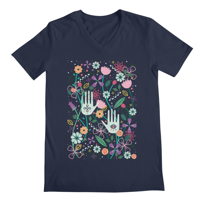 Botanical Hands  Men's V-Neck by carlywatts's Shop