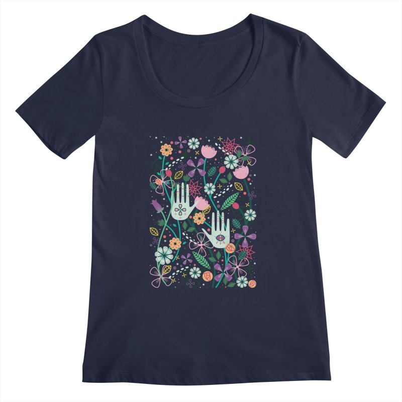 Botanical Hands Women's Regular Scoop Neck by carlywatts's Shop
