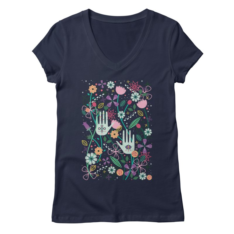 Botanical Hands  Women's V-Neck by carlywatts's Shop