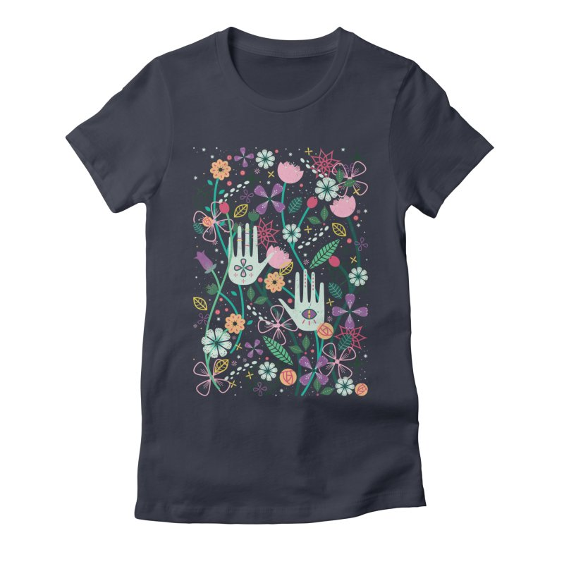 Botanical Hands  in Women's Fitted T-Shirt Midnight by carlywatts's Shop