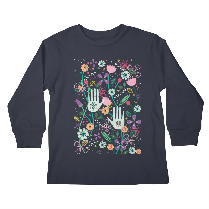 Botanical Hands  Kids Longsleeve T-Shirt by carlywatts's Shop