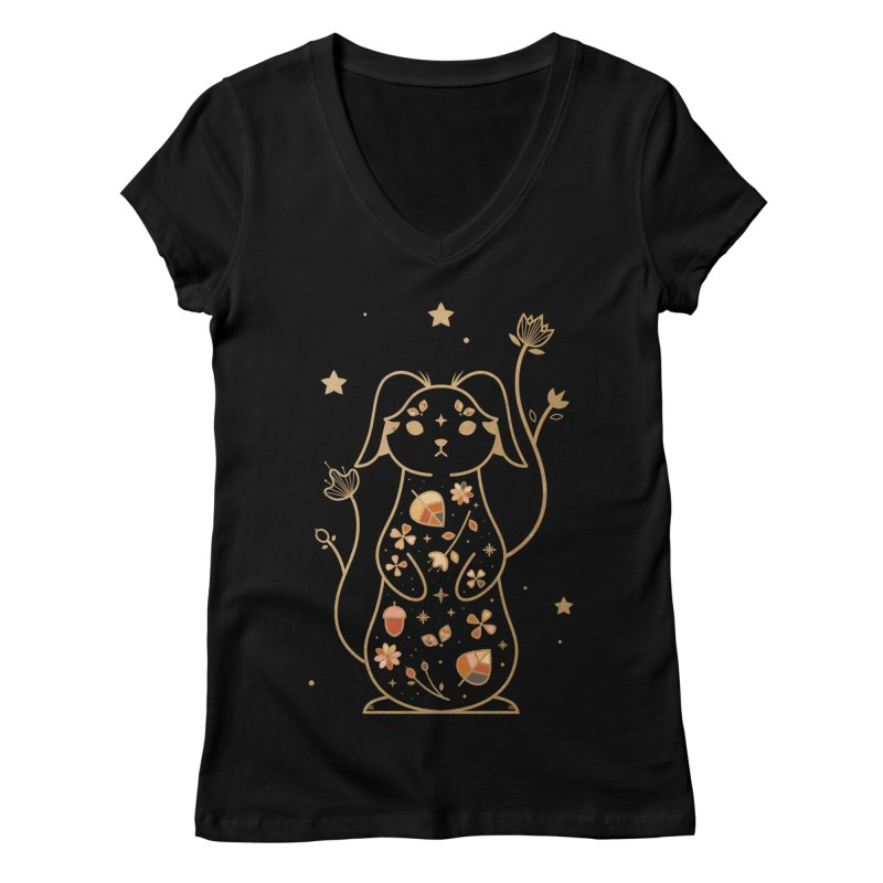 The Autumn Rabbit  Women's V-Neck by carlywatts's Shop