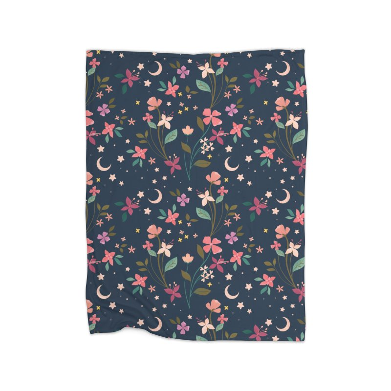 Night Blossoms Home Fleece Blanket Blanket by carlywatts's Shop