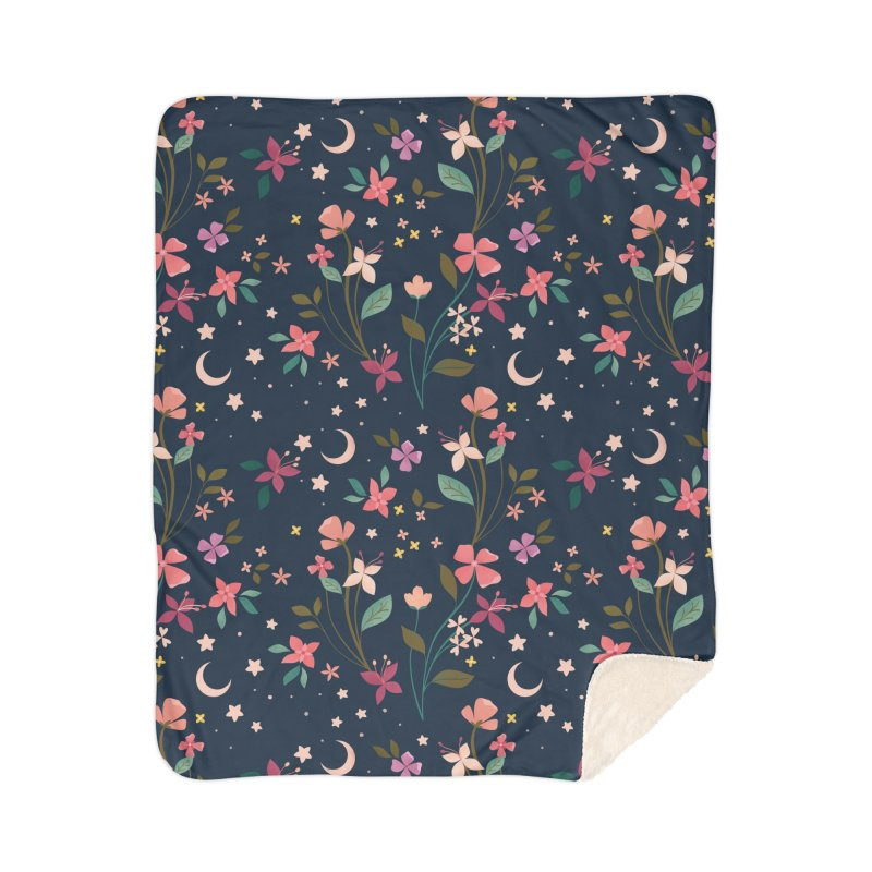 Night Blossoms Home Sherpa Blanket Blanket by carlywatts's Shop