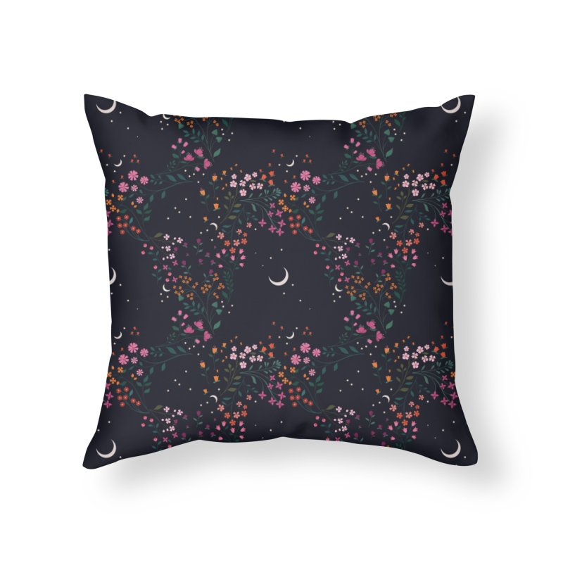 Midnight Garden Home Throw Pillow by carlywatts's Shop