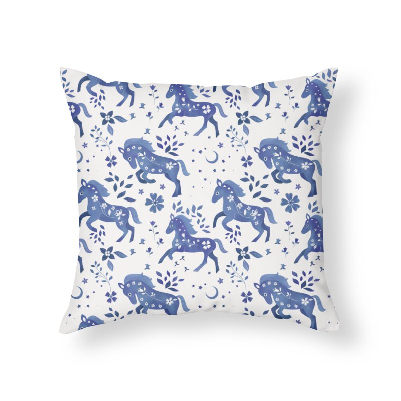 Delft Blue Horses Home Throw Pillow by carlywatts's Shop