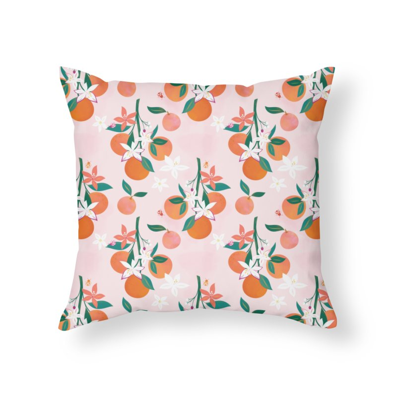 Orange Blossoms Home Throw Pillow by carlywatts's Shop