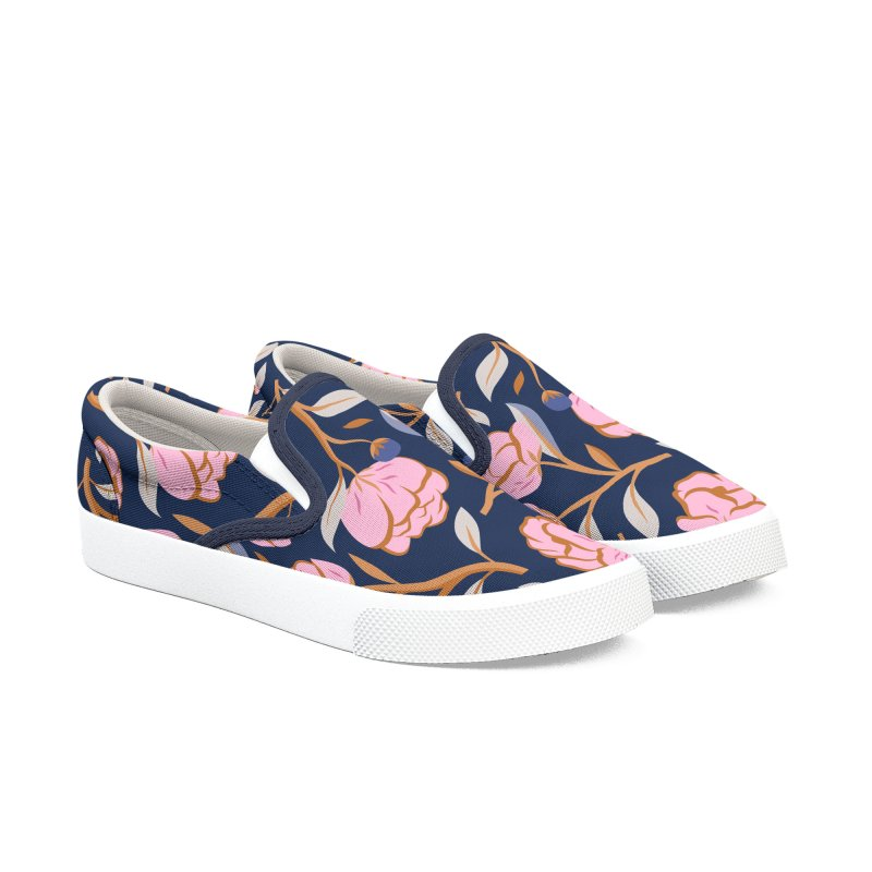 Peony Pop Navy Women's Slip-On Shoes by carlywatts's Shop
