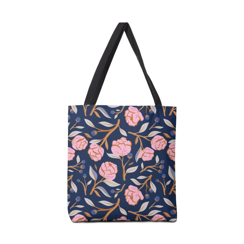 Peony Pop Navy Accessories Tote Bag Bag by carlywatts's Shop