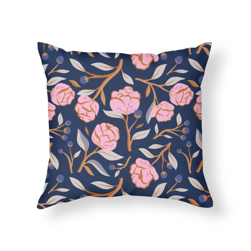Peony Pop Navy Home Throw Pillow by carlywatts's Shop