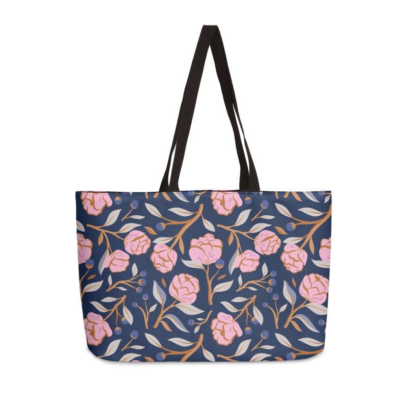 Peony Pop Navy Accessories Weekender Bag Bag by carlywatts's Shop