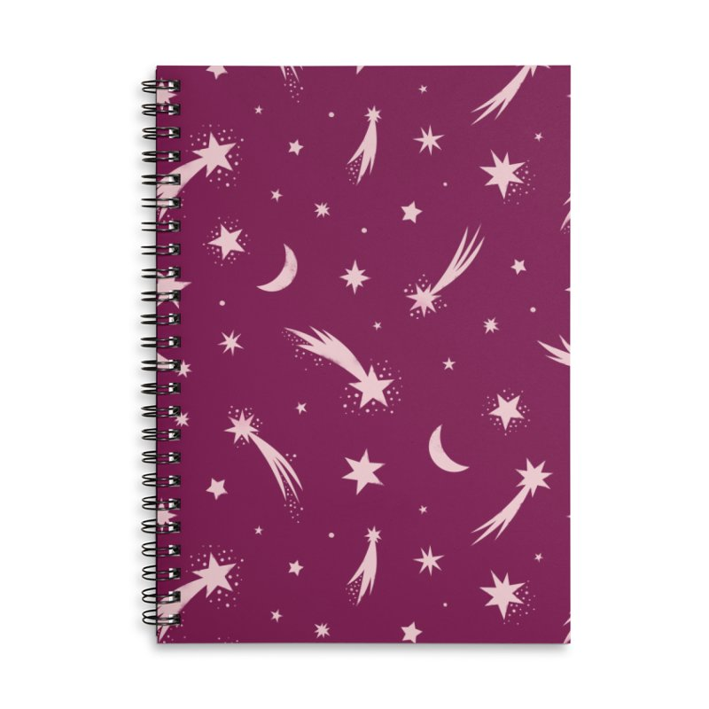 Mini Meteors Deep Pink Accessories Lined Spiral Notebook by carlywatts's Shop