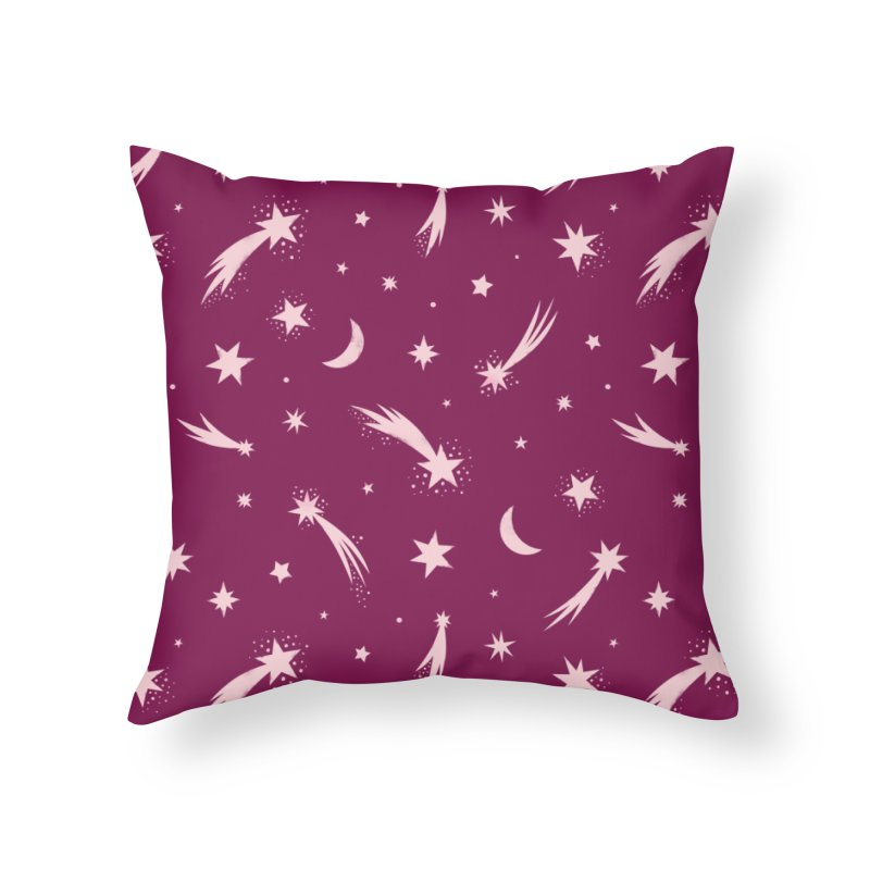 Mini Meteors Deep Pink Home Throw Pillow by carlywatts's Shop