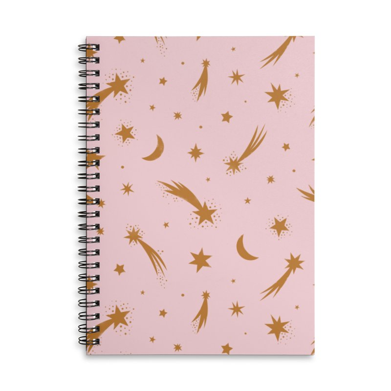Mini Meteors Gold Accessories Lined Spiral Notebook by carlywatts's Shop