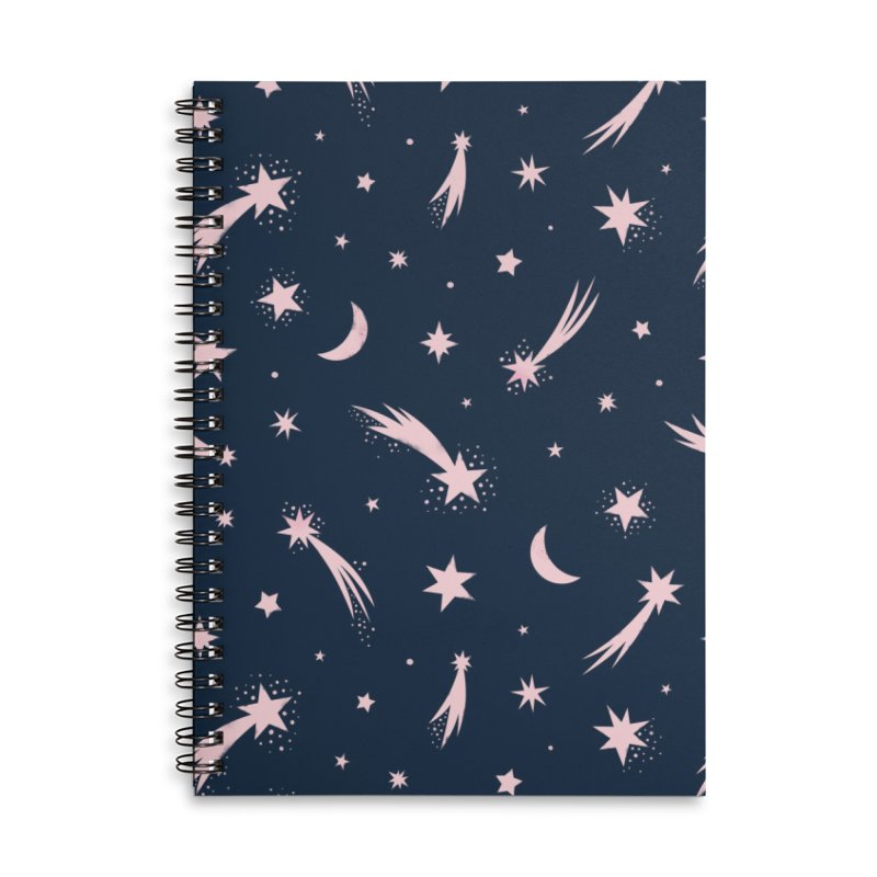 Mini Meteors Navy Accessories Lined Spiral Notebook by carlywatts's Shop