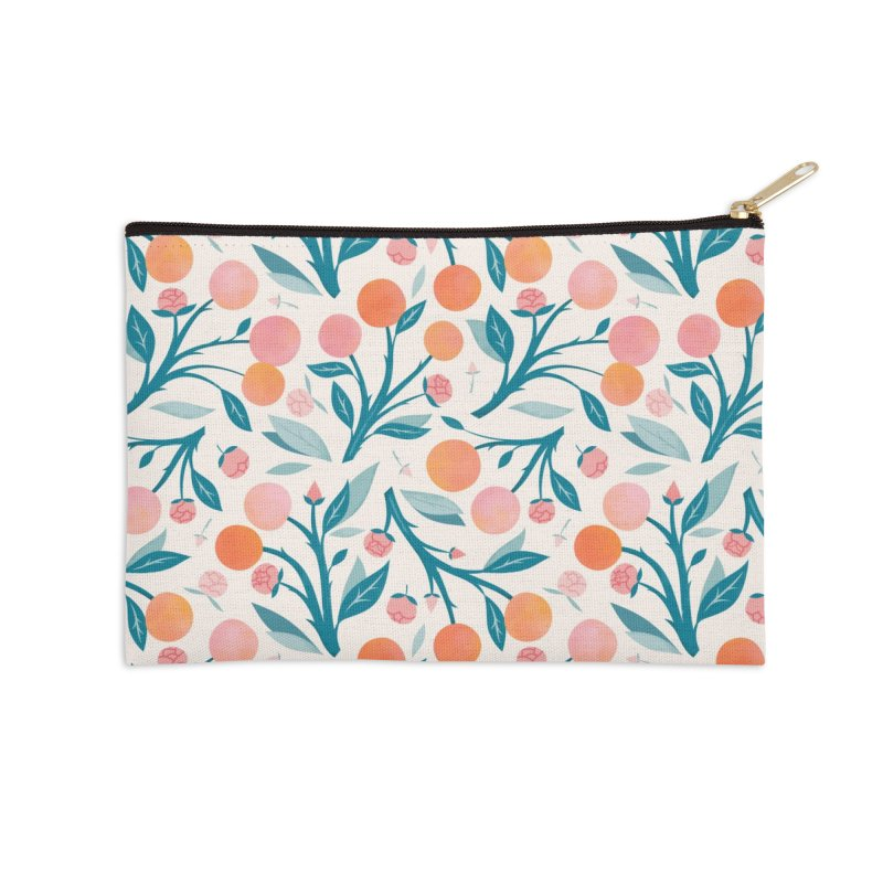 Peaches and Peony Buds Accessories Zip Pouch by carlywatts's Shop
