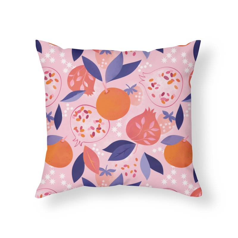Pink Pomegranates Home Throw Pillow by carlywatts's Shop