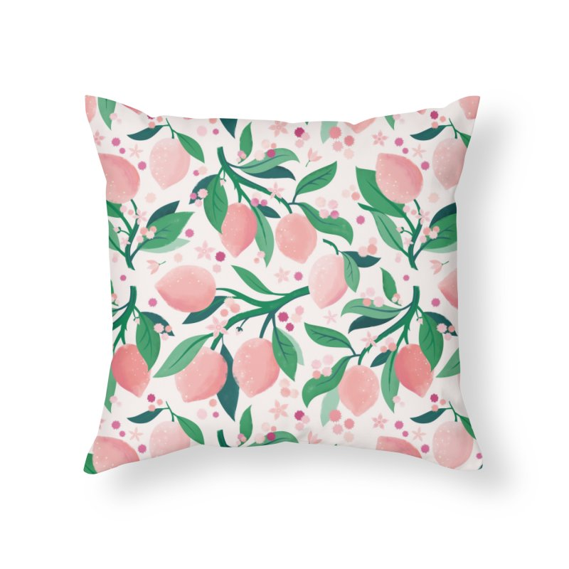 Lemon Mimosa Coral Home Throw Pillow by carlywatts's Shop