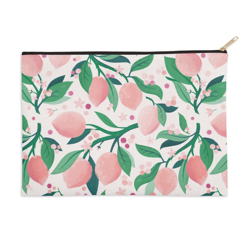 Lemon Mimosa Coral Accessories Zip Pouch by carlywatts's Shop