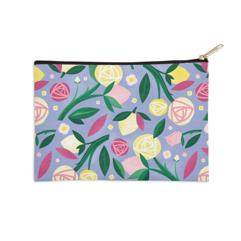 Lemon Roses Accessories Zip Pouch by carlywatts's Shop