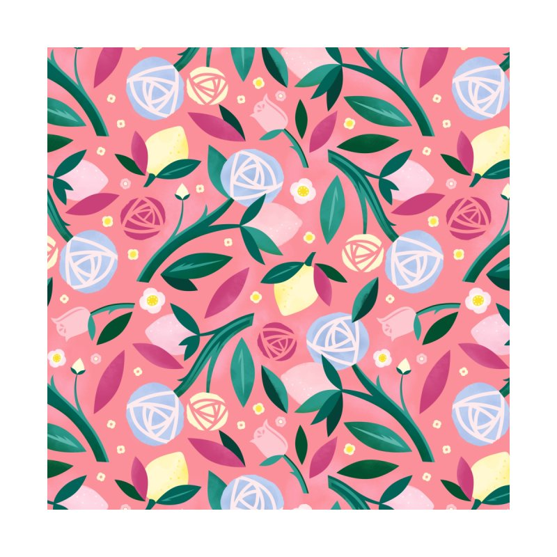 Lemon Roses Blue Accessories Zip Pouch by carlywatts's Shop