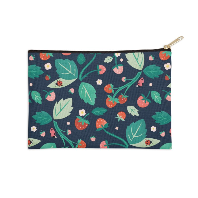 Strawberry Season Navy Accessories Zip Pouch by carlywatts's Shop