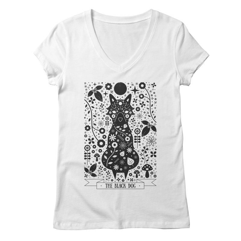 The Black Dog  Women's V-Neck by carlywatts's Shop
