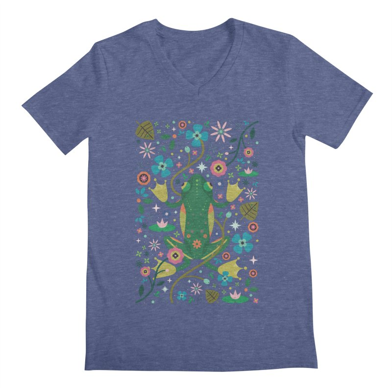 Botanical Frog  Men's V-Neck by carlywatts's Shop
