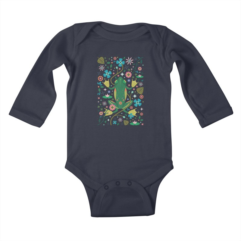 Botanical Frog  Kids Baby Longsleeve Bodysuit by carlywatts's Shop