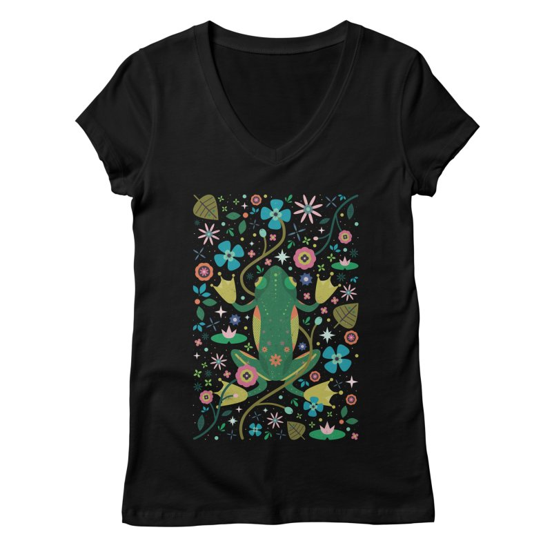 Botanical Frog  Women's V-Neck by carlywatts's Shop