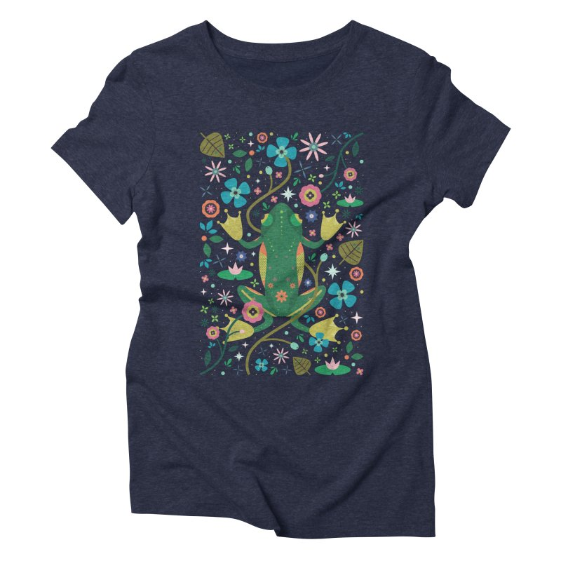Botanical Frog  in Women's Triblend T-shirt Navy by carlywatts's Shop