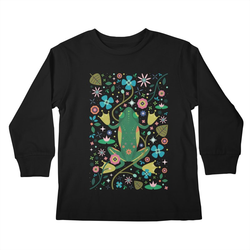 Botanical Frog  Kids Longsleeve T-Shirt by carlywatts's Shop