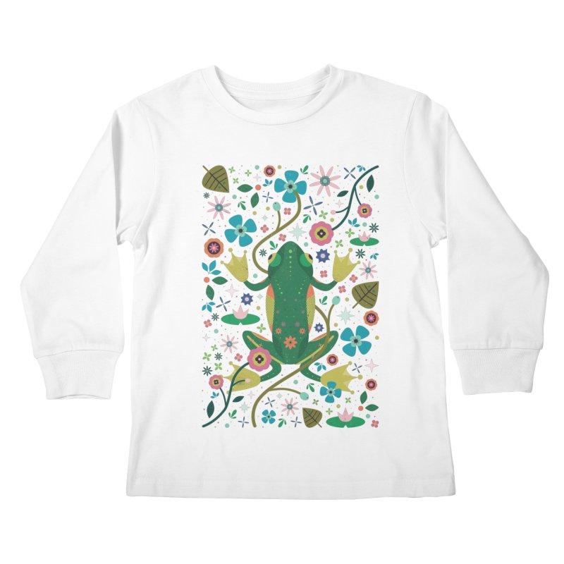 Botanical Frog  Kids Longsleeve T-Shirt by carlywatts's Shop