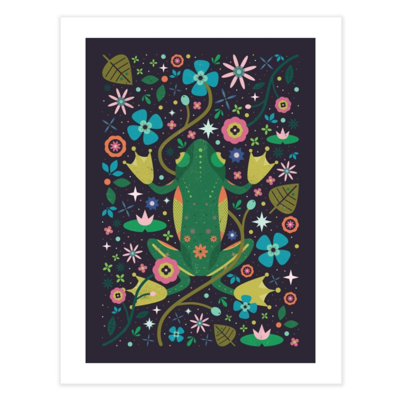 Botanical Frog  Home Fine Art Print by carlywatts's Shop
