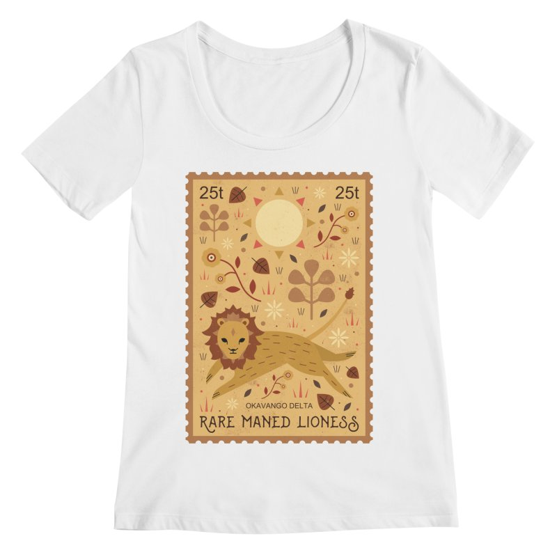 Rare Maned Lioness  Women's Scoopneck by carlywatts's Shop