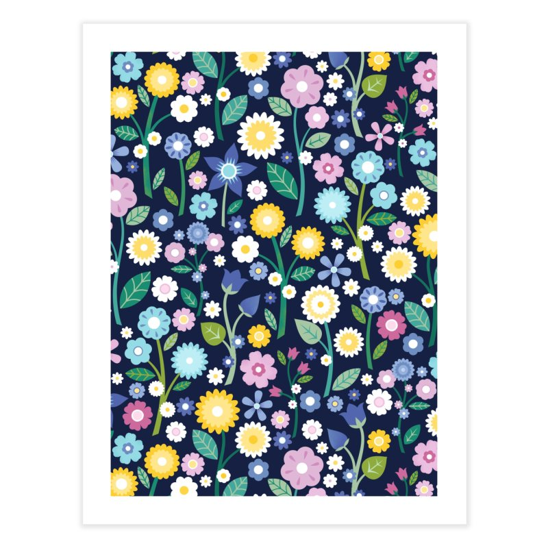 Spring Meadow Navy Home Fine Art Print by carlywatts's Shop