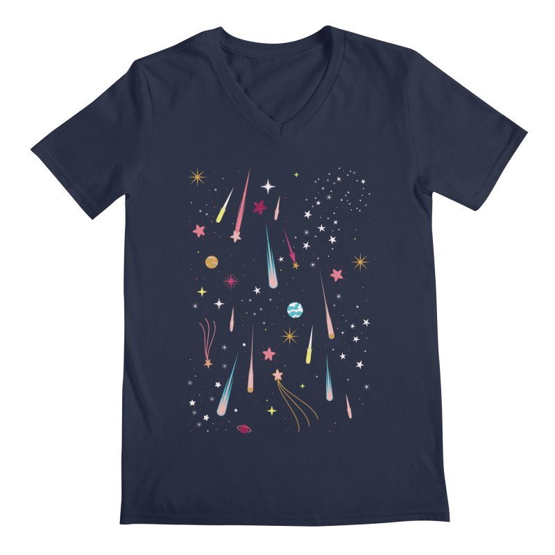 Meteor Shower Men's Regular V-Neck by carlywatts's Shop