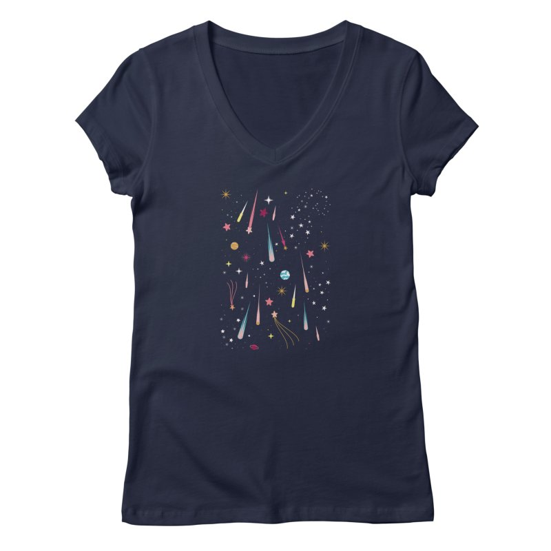 Meteor Shower Women's Regular V-Neck by carlywatts's Shop