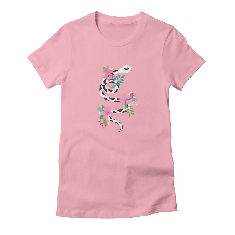 Dalmatian Snake in Women's Fitted T-Shirt Light Pink by carlywatts's Shop
