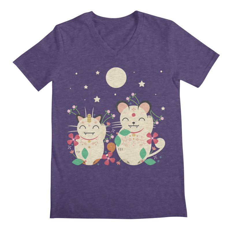 Lucky Cats  Men's V-Neck by carlywatts's Shop