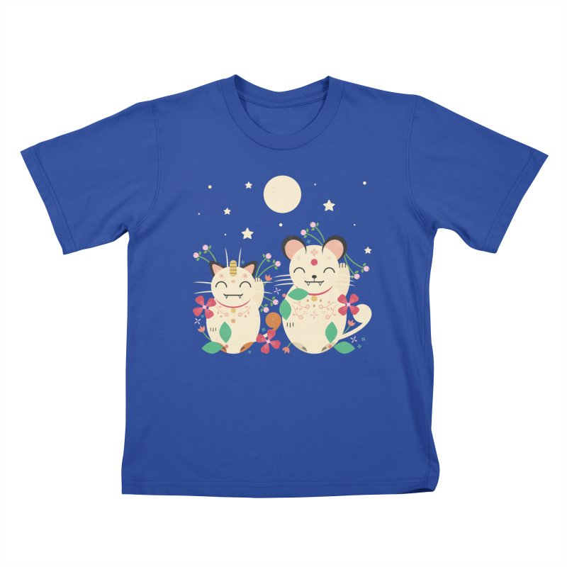 Lucky Cats  Kids T-shirt by carlywatts's Shop