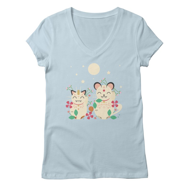 Lucky Cats  Women's V-Neck by carlywatts's Shop