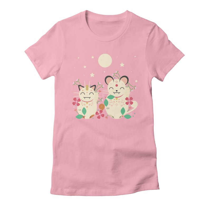 Lucky Cats  Women's Fitted T-Shirt by carlywatts's Shop