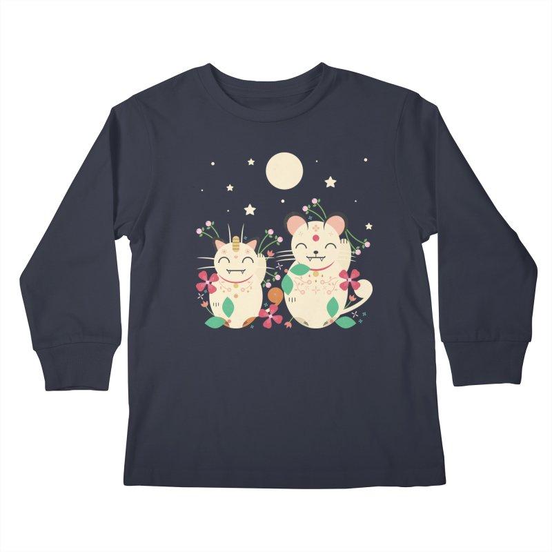 Lucky Cats  Kids Longsleeve T-Shirt by carlywatts's Shop