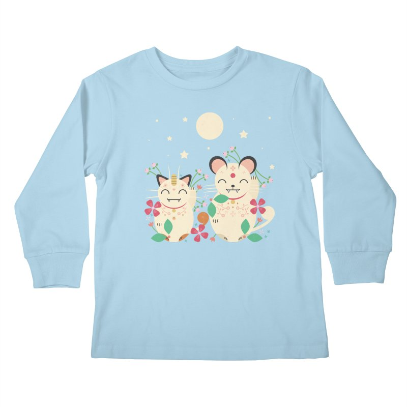 Lucky Cats  Kids Longsleeve T-Shirt by carlywatts's Shop