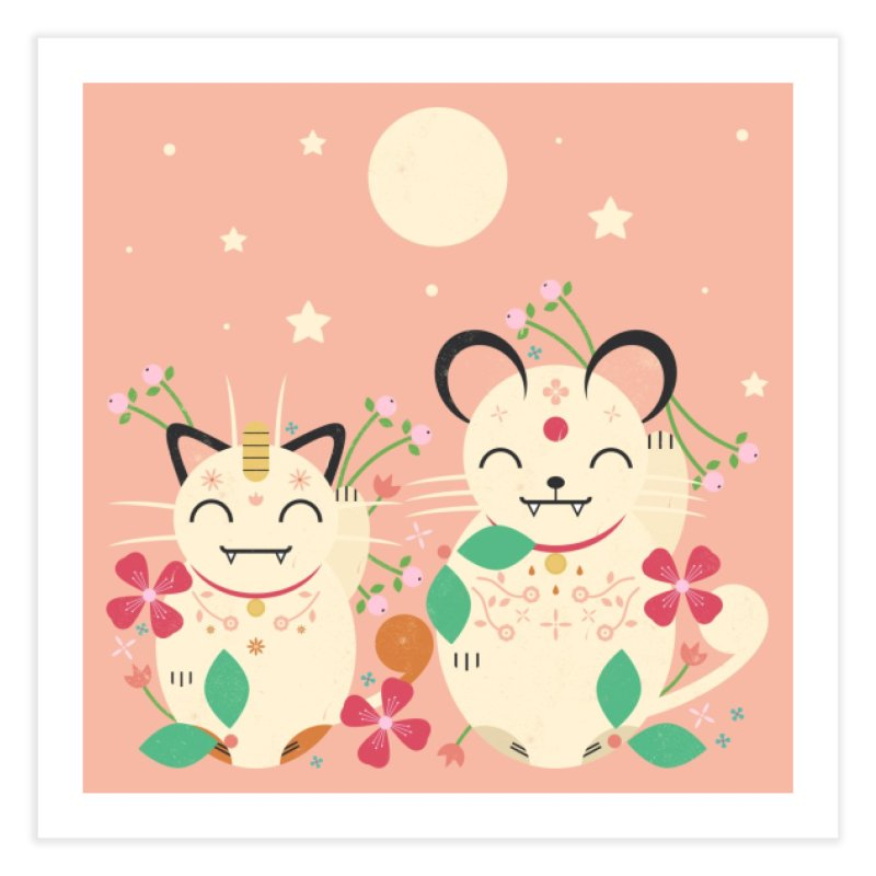 Lucky Cats  Home Fine Art Print by carlywatts's Shop