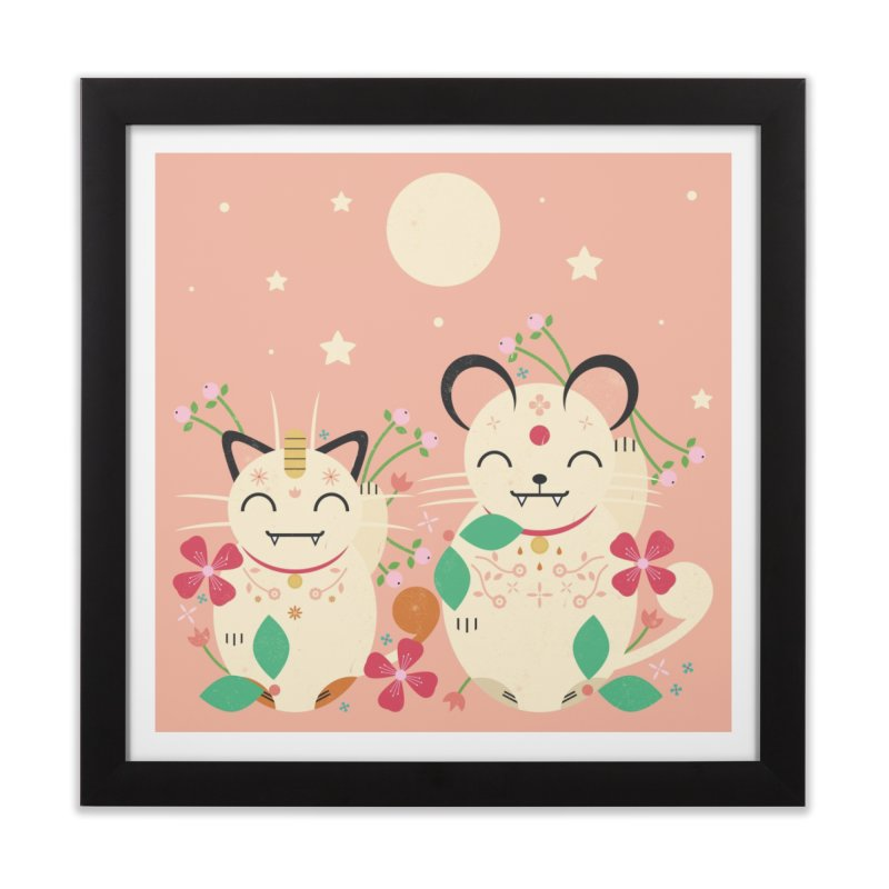 Lucky Cats  Home Framed Fine Art Print by carlywatts's Shop